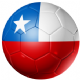 Chile Football Flag 25mm Flat Back